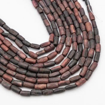 Bone Tube Beads 12x8mm, reddish brown hand carved,  15  inch strand - B2920