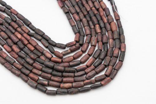 Bone Tube Beads 12x8mm, reddish brown hand carved,  15  inch strand - B2920