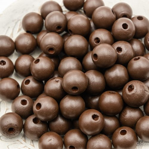 Brown  Wood   Beads 14mm, painted  - 50 pieces -B3010