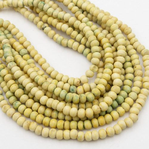 Cow Bone   Beads  8mm,   hand carved, yellow color,  15  inch strand - B2900