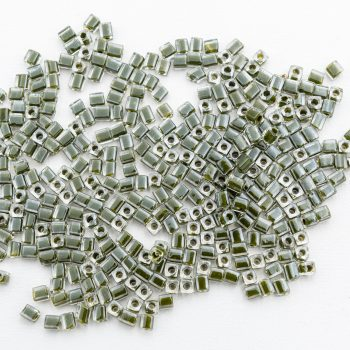 Czech Glass Tube Beads, green / clear, 4x3mm approx 800 pieces -B2799