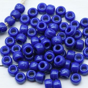 Dark Blue Pony Beads, 70pcs, 9mm,   Large Hole Beads, Plastic Beads, Kids    Crafts