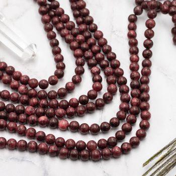 Dark Red  Gemstone Beads  6mm, natural stone sesame, 15 Inch Strand  -B990