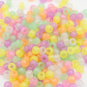 Glow in the Dark Pony Beads, 150pcs, 9mm,   Large Hole Beads, luminous  - B3061
