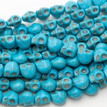 Howlite Skull Beads 12mm, dyed turquoise stone, one 30 piece strand  -B2686