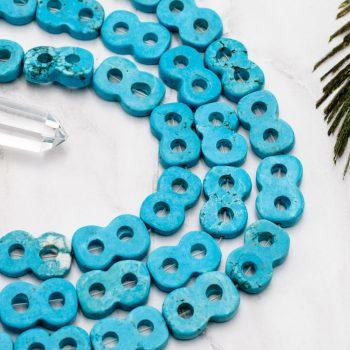 Infinity Beads, Turquoise  Gemstone Beads, Howlite Stone, 1 Strand, 20x12mm -B2101
