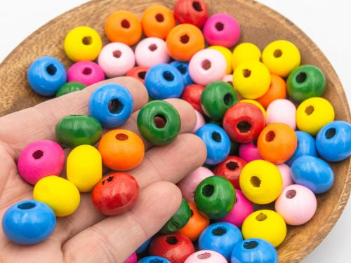 Large hole  Wood   Beads, 16x12mm, mixed colors,  30 pieces -B2935