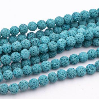 Lava Beads, 10mm, 15 Inch Strand, Light Blue Gemstone  -B2383