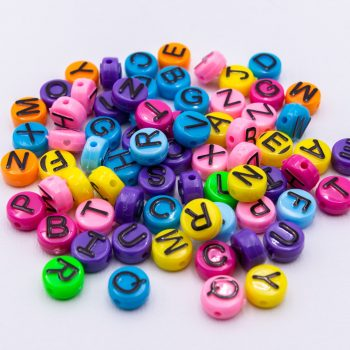 Letter Beads 10mm,  Mixed  Alphabet,   acrylic,  72 pieces   -B2949