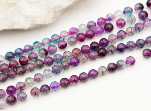 Natural Agate Beads,  6mm  round   60 piece strand -B3047