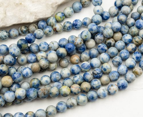 Natural Agate Beads,  8mm, round blue,  48 piece strand -B3044
