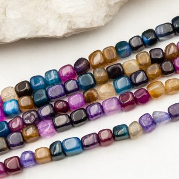 Natural Agate Cube Beads,  7x5mm  round   62 piece strand -B3050