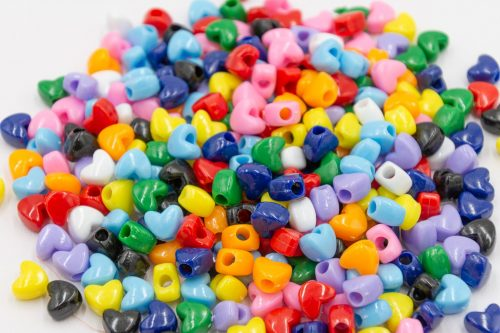 Plastic Heart Beads, 150pcs, 12mm,   Large Hole Beads,  Kids    Crafts - B3061