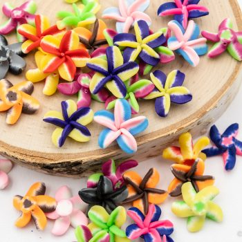 Polymer Clay Flower Beads 20mm,  20 pieces, .5mm hole,  Plumeria shape  -B3027