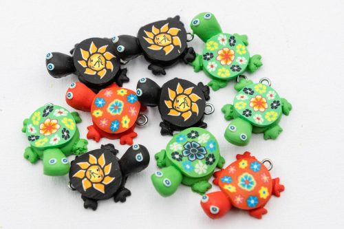 Polymer Clay Turtle Charms 25mm,  10 pieces, 1mm loop   -B3021