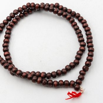 Red Wood Mala  Beads 7mm,   108 Beads,   Wooden  Prayer Beads -B3076