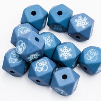 Resin Snowflake  Beads, octagon shape, 10pcs,  Blue  -B3056