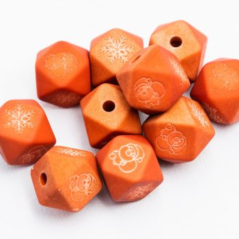 Resin Snowflake  Beads, octagon shape, 10pcs,  Red   -B3057