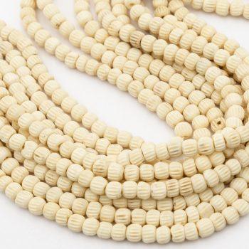 Round Bone  Beads 6mm,  cream hand carved,  16 inch strand - B2901