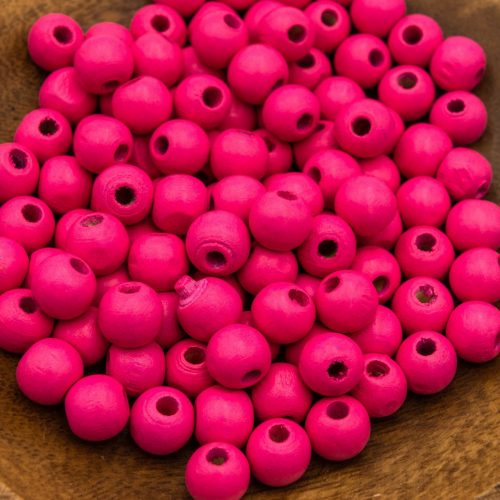 Round  Pink  Wood   Beads 12mm, painted  - 50 pieces -B2978