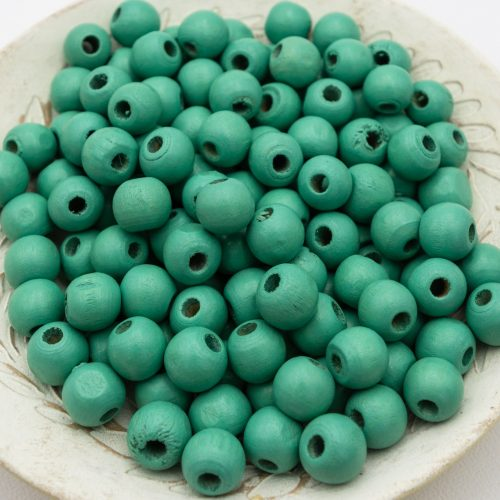 Round Teal   Wood   Beads 12mm, painted  - 50 pieces -B2953