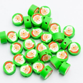 Santa Claus Beads, 18pcs,  Polymer Clay, green fimo  -B3060