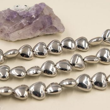 Silver Heart Beads, Acrylic Beads, 15 x 13mm, 14 Beads,  Plastic Beads -B78
