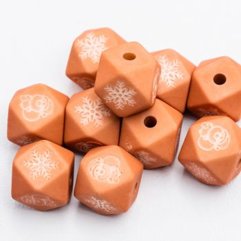 Snowflake  Beads, octagon shape, 10pcs,  Orange  -B3058