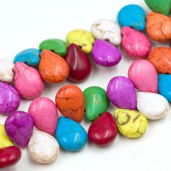 Tear Drop Beads,  Howlite Stone, Mixed Colors, Colorful Macrame beads -B1058