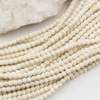 White howlite Beads,  4mm,  disc,   100 piece strand -B3022