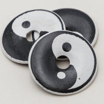 Ying Yang Donut Pendant, 2pcs, 43mm,  Painted   Clay Beads, Ying and Yang -R150