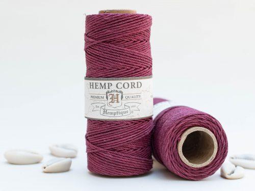 Hemp Cord 1mm, 205 Feet, Burgundy