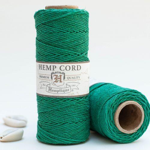 Dark Green Hemp Twine, 1mm, 205 feet