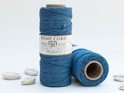 Vintage Blue Hemp Cord 1mm, 205 Feet