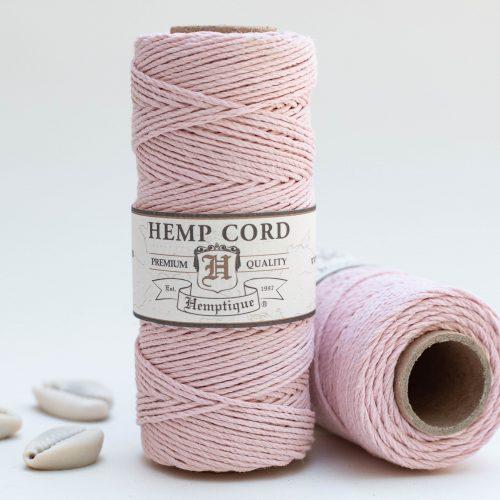 Powder Pink Hemp Cord, 1mm, 205 Feet