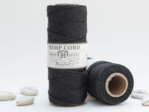 Black Hemp Cord 1mm, 205 Feet spool