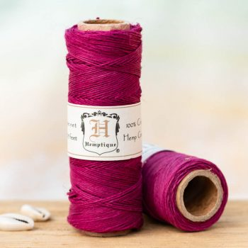 Dark pink hemp bead cord,  o.5mm, 205 feet spool, thin hemp cord can be used for small hole beads, crafts - card making, scrapbooking,   and making micro macrame hemp jewelry.