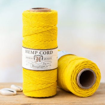 yellow hemp cord 1mm, hemptique brand
