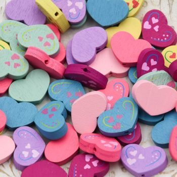 Heart  Beads, painted wood,  Assorted Colors,   focal beads,  50 pieces   -B3078