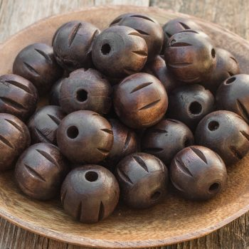 Large Round  Wood beads, dark brown carved,  24mm, large hole, 12 pieces -B2751