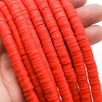 Orange Polymer Clay beads 8mm,   heishi flat round disc-  1 Strand  -B3094