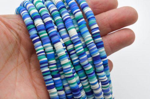 Polymer Clay   Disc beads 6mm,   heishi -  1 Strand, blue/white  -B3089