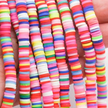 Polymer Clay Disc beads, Rainbow, 6mm, 1 Strand  -B1122
