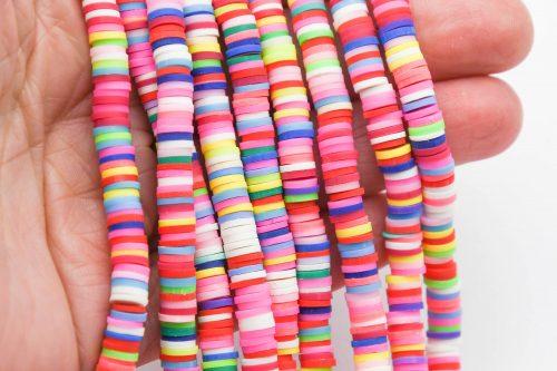 Polymer Clay Disc beads, Rainbow, 6mm, 1 Strand  -B1122