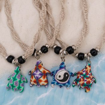fimo turtle hemp necklace