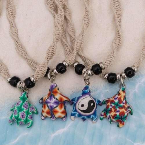 fimo turtle hemp necklace