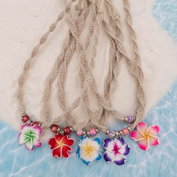 plumeria flower hemp necklace
