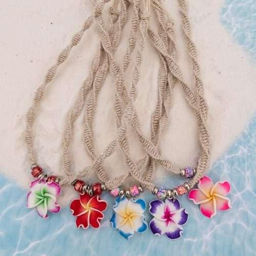 plumeria flower hemp necklace