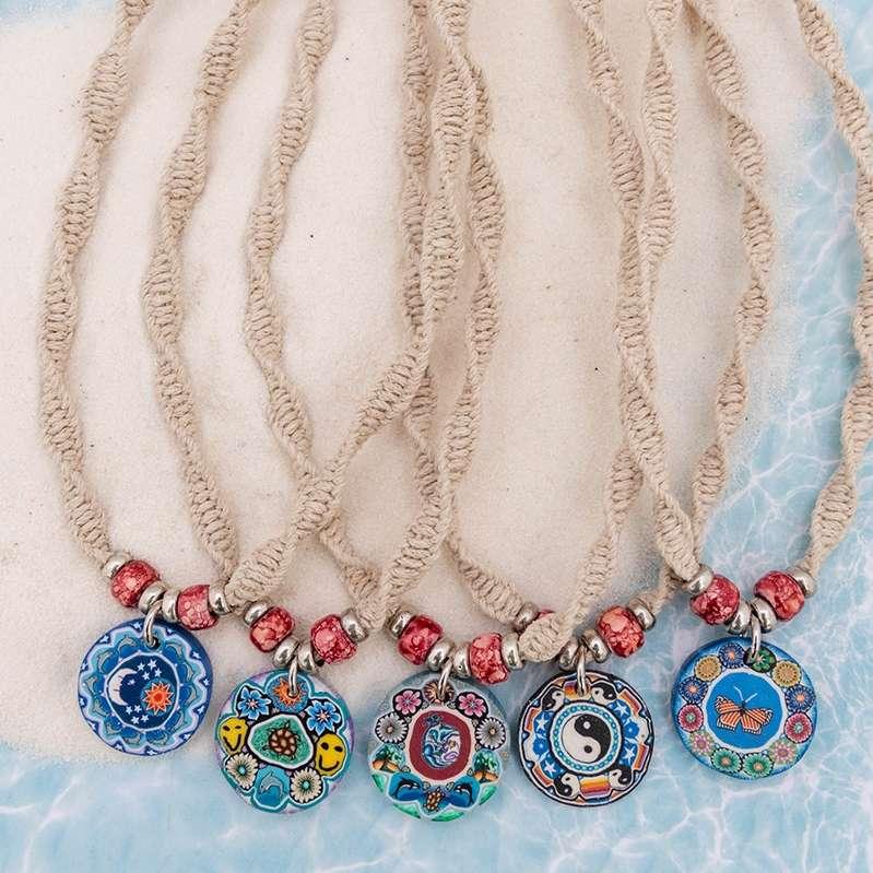 fimo disc hemp necklaces