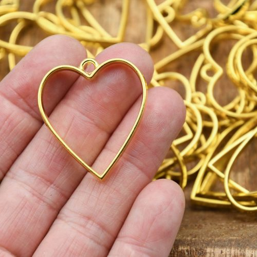 10 alloy metal Heart  pendants,  gold color, 30mm, mothers day charm - B3135